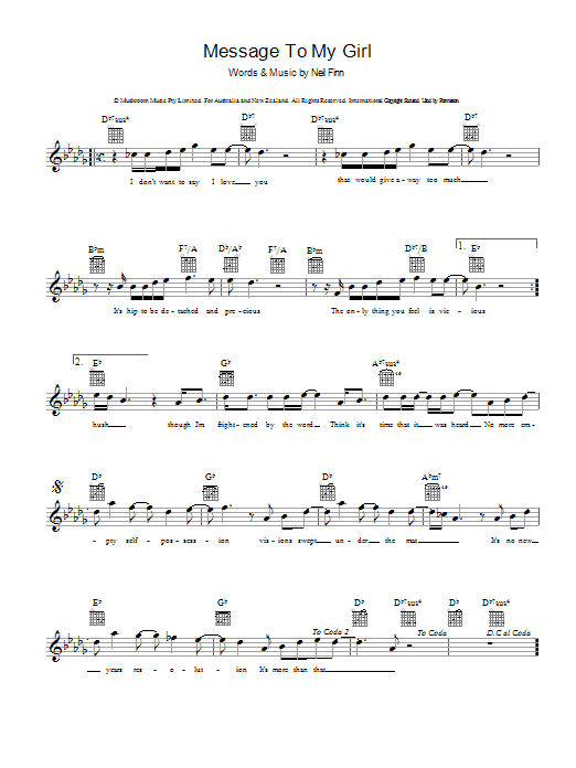 Split Enz Message To My Girl sheet music preview music notes and score for Guitar Tab including 2 page(s)