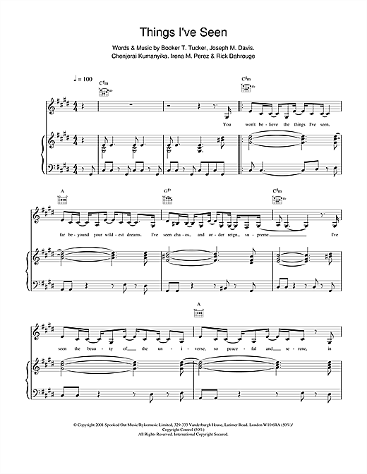 Spooks Things I've Seen sheet music notes and chords