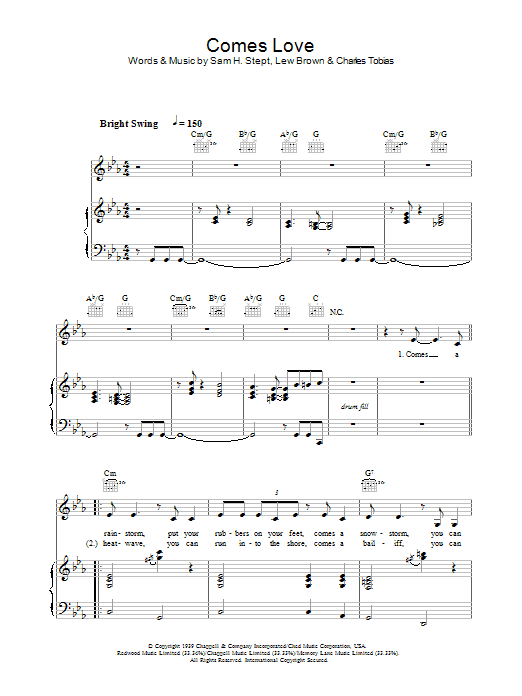 Stacey Kent Comes Love sheet music preview music notes and score for Piano, Vocal & Guitar including 9 page(s)