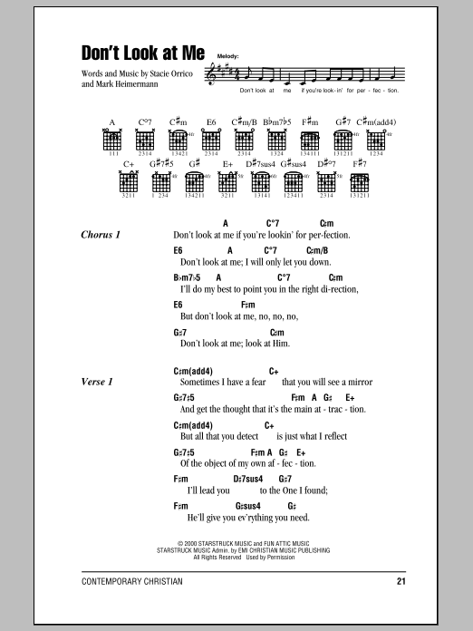 Stacie Orrico Don't Look At Me sheet music notes and chords