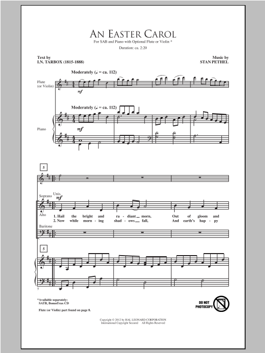 Stan Pethel An Easter Carol sheet music preview music notes and score for SAB including 7 page(s)