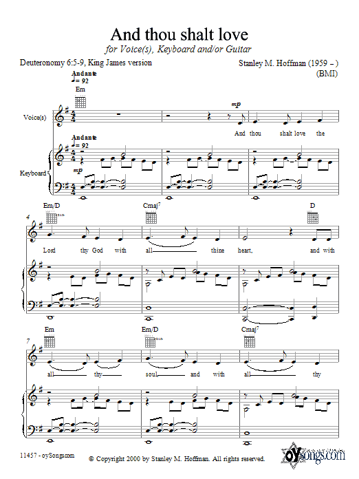 Stanley Hoffman And Thou Shalt Love sheet music notes and chords