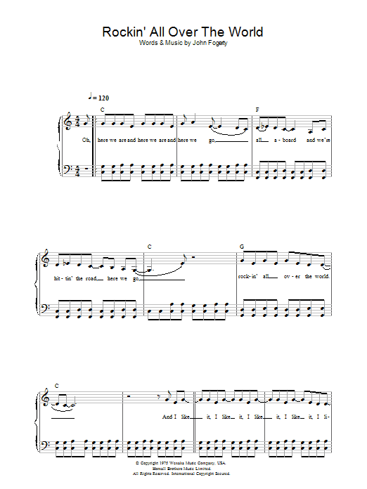 Status Quo Rockin' All Over The World sheet music preview music notes and score for Keyboard including 2 page(s)