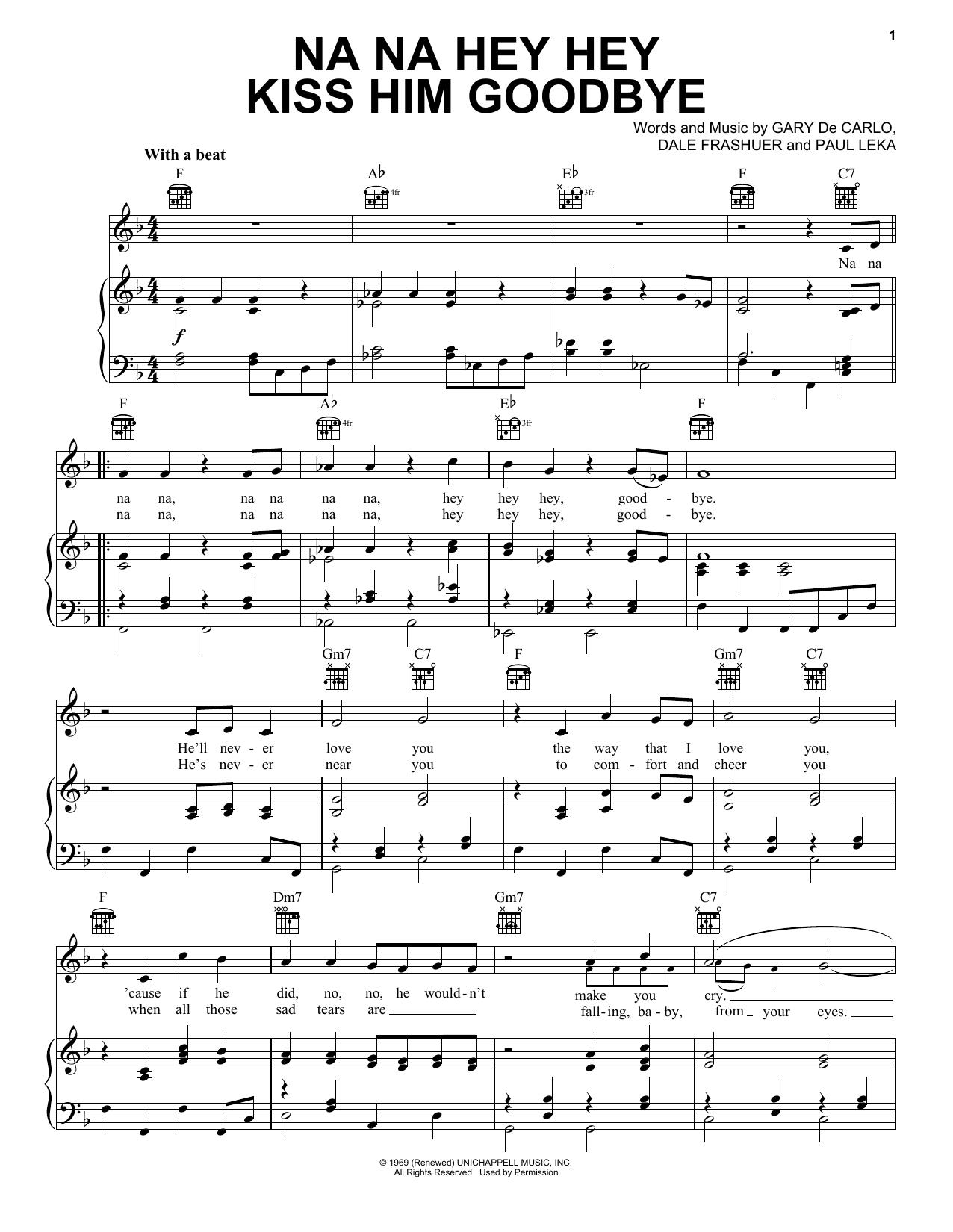 Steam Na Na Hey Hey Kiss Him Goodbye sheet music notes and chords