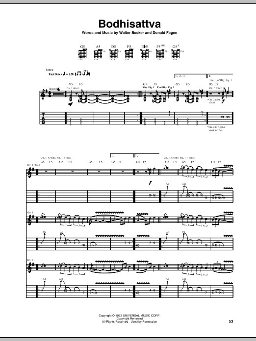 Steely Dan Bodhisattva sheet music preview music notes and score for Bass Guitar Tab including 8 page(s)