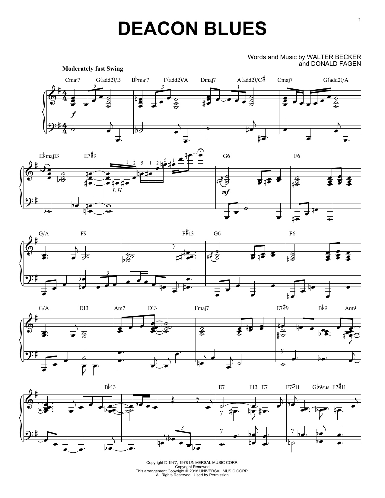 Steely Dan Deacon Blues sheet music preview music notes and score for Piano including 5 page(s)