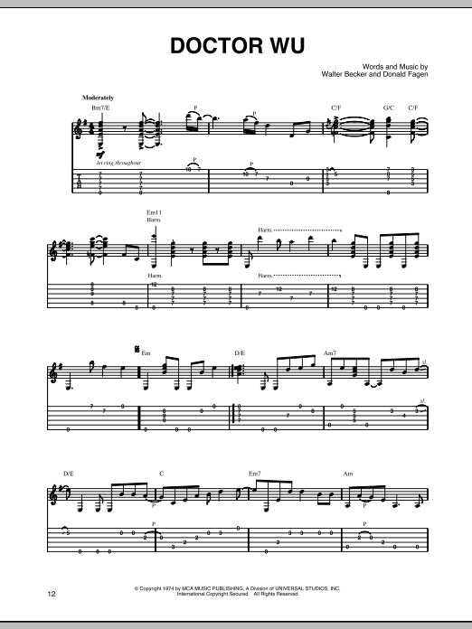 Steely Dan Doctor Wu sheet music preview music notes and score for Guitar Tab including 4 page(s)