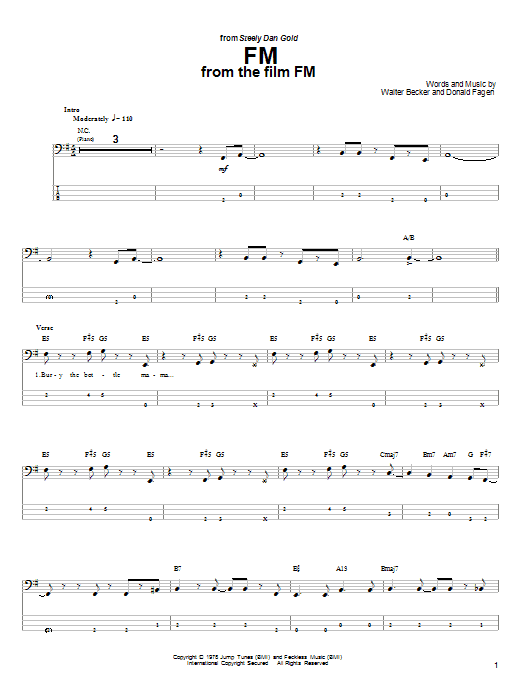 Steely Dan FM sheet music preview music notes and score for Guitar Tab including 8 page(s)