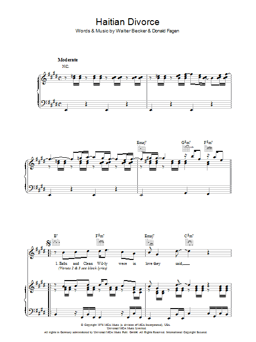 Steely Dan Haitian Divorce sheet music preview music notes and score for Guitar Tab including 5 page(s)