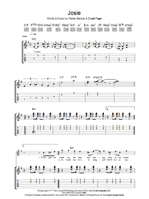 Steely Dan Josie sheet music preview music notes and score for Guitar Tab including 6 page(s)