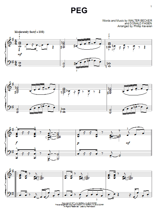 Steely Dan Peg sheet music preview music notes and score for Guitar Tab including 2 page(s)
