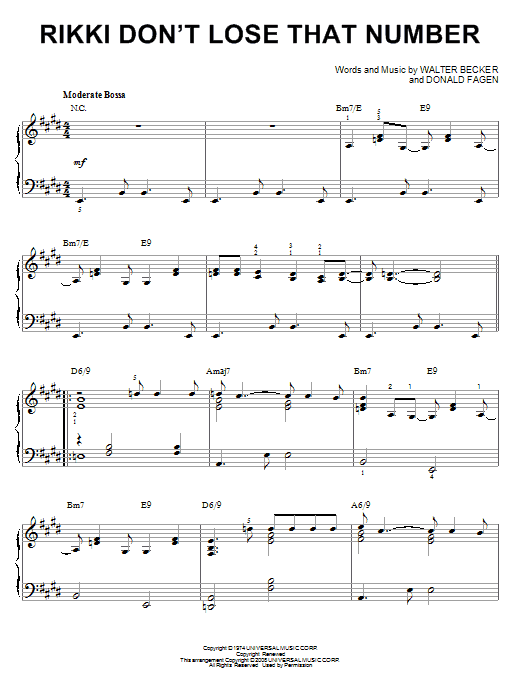 Download Steely Dan 'Rikki Don't Lose That Number' Digital Sheet Music Notes & Chords and start playing in minutes