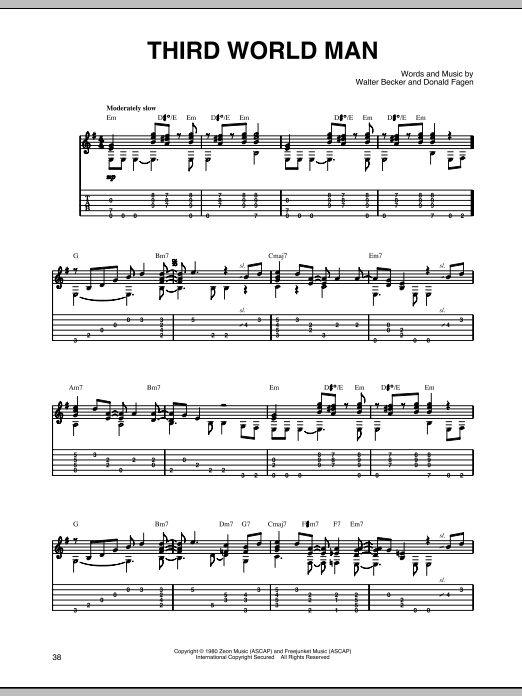 Steely Dan Third World Man sheet music preview music notes and score for Guitar Tab including 3 page(s)
