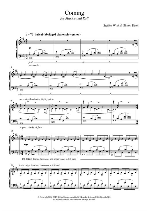 Download Steffen Wick 'Coming' Digital Sheet Music Notes & Chords and start playing in minutes