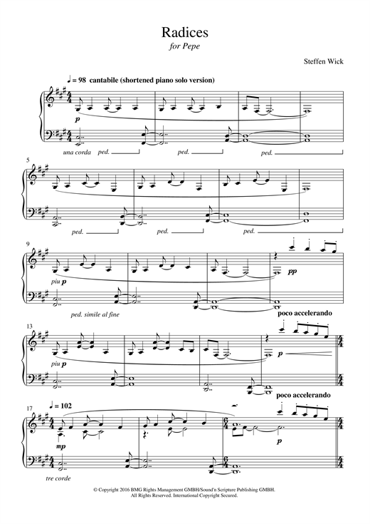 Download Steffen Wick 'Radices' Digital Sheet Music Notes & Chords and start playing in minutes