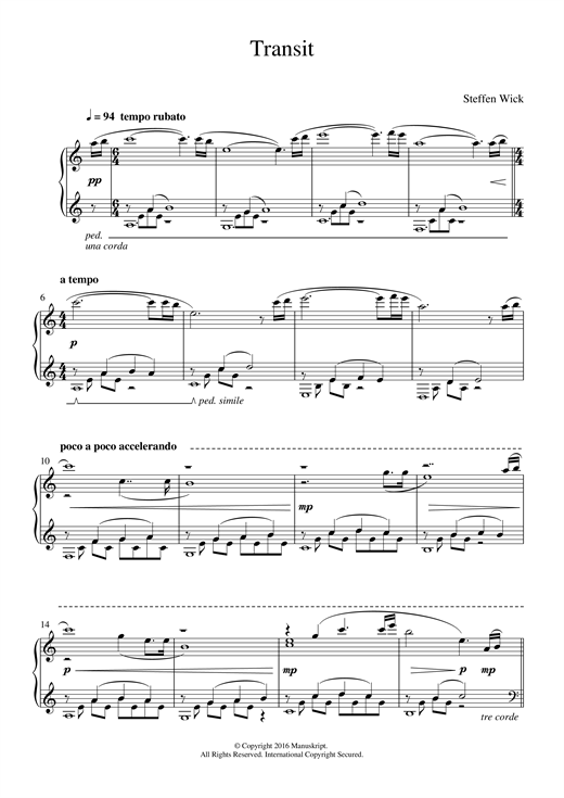 Steffen Wick Transit sheet music notes and chords