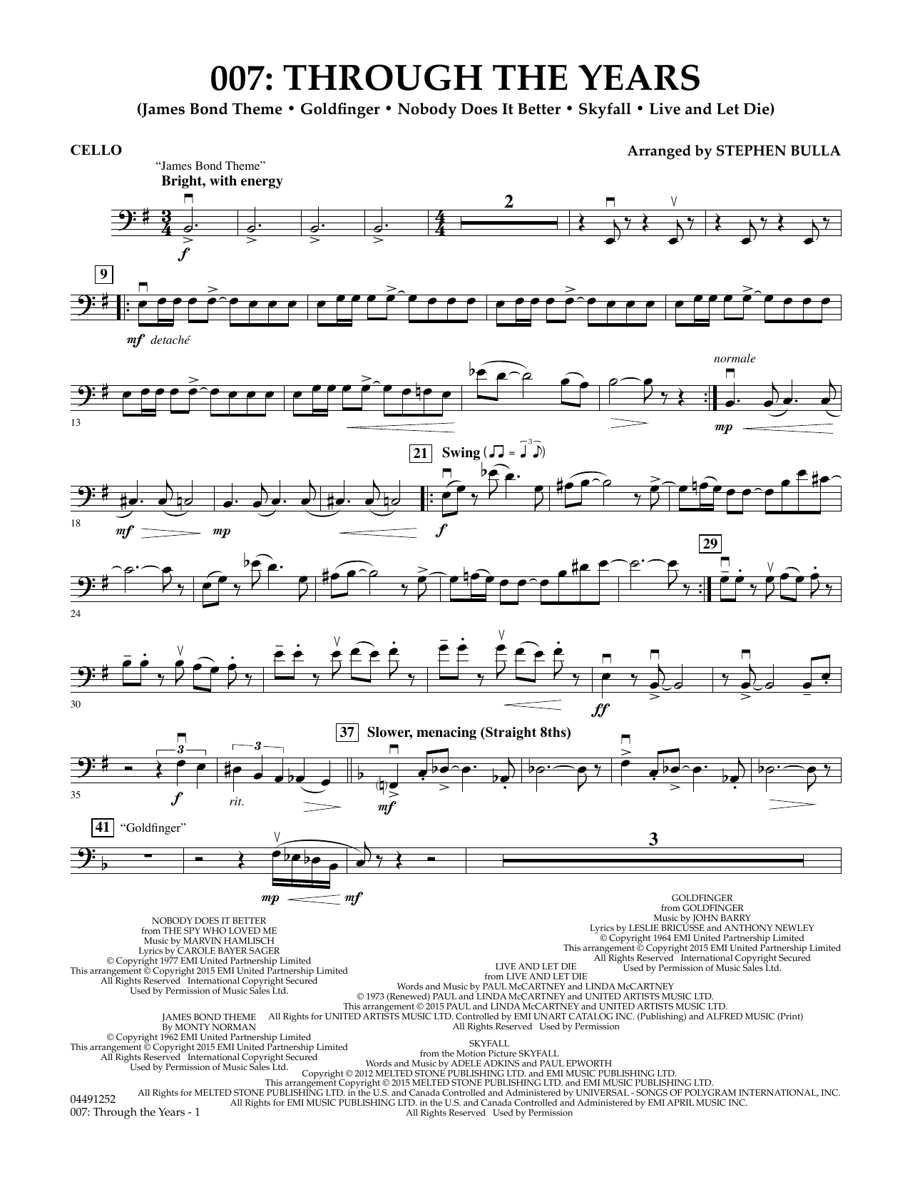 Stephen Bulla 007: Through The Years - Cello sheet music preview music notes and score for Orchestra including 3 page(s)