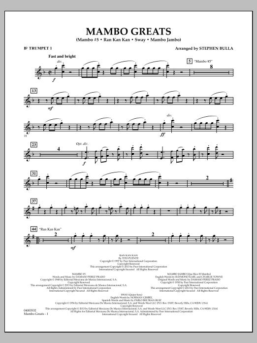 Stephen Bulla Mambo Greats - Bb Trumpet 1 sheet music notes and chords