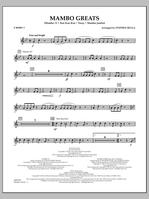 Stephen Bulla Mambo Greats - F Horn 3 sheet music notes and chords