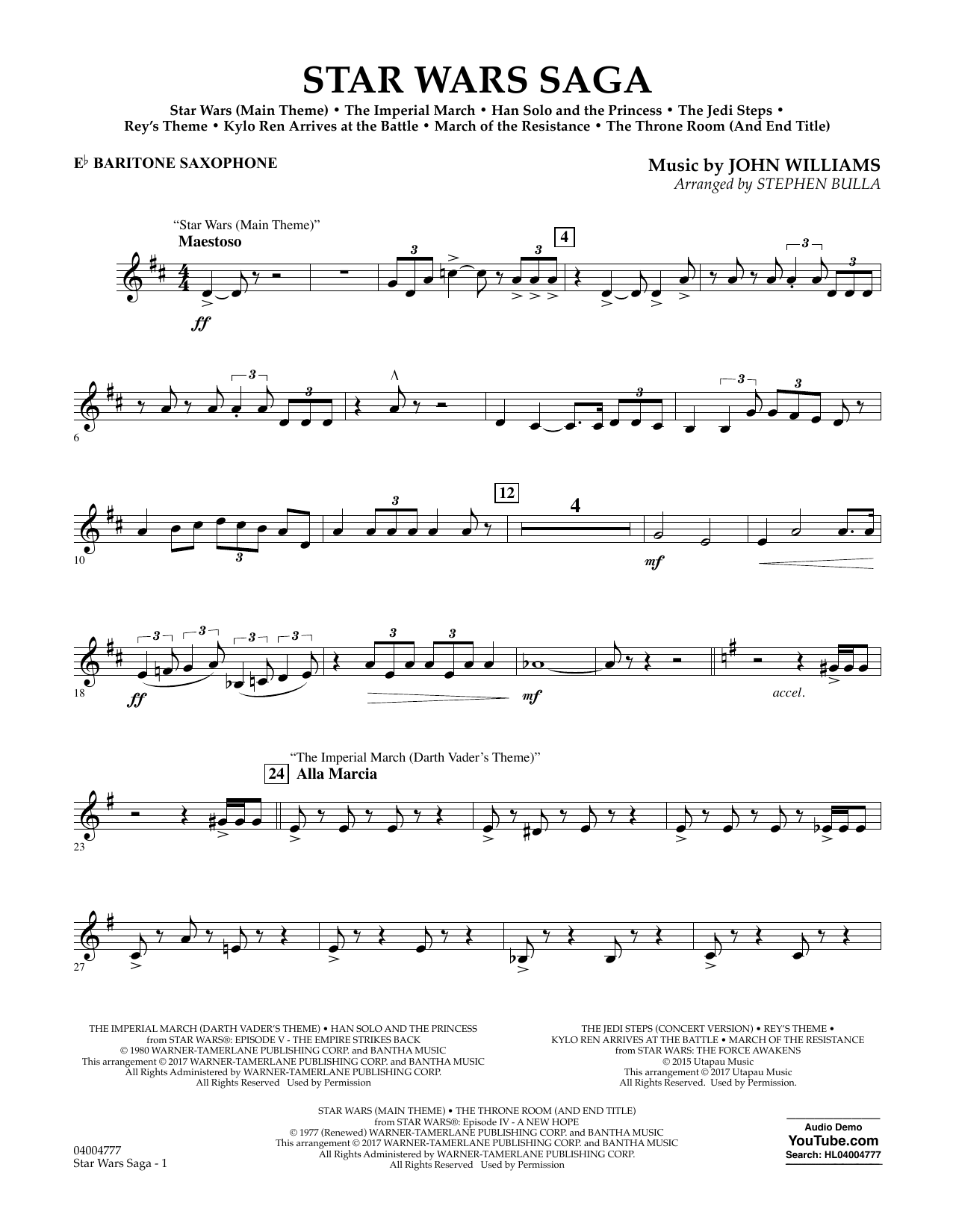 Stephen Bulla Star Wars Saga - Eb Baritone Saxophone sheet music preview music notes and score for Concert Band including 3 page(s)