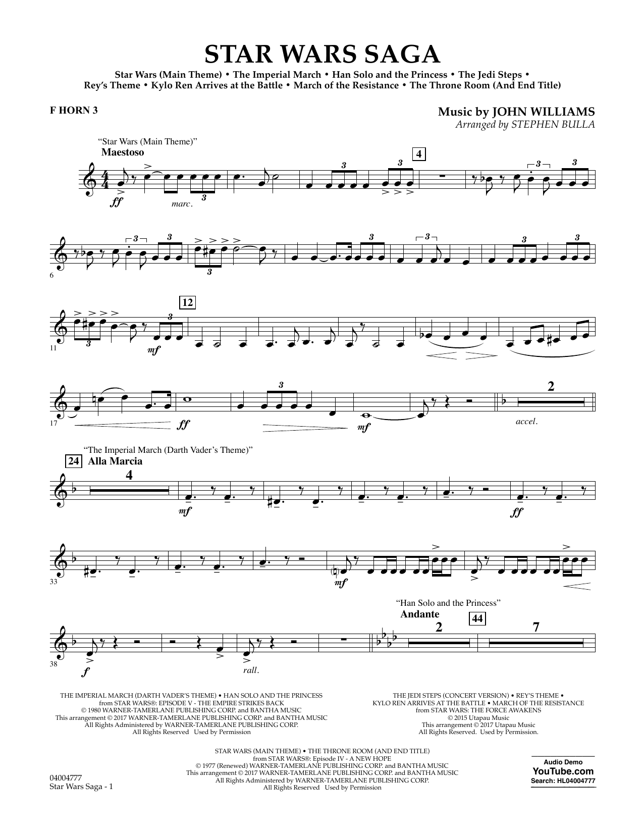 Stephen Bulla Star Wars Saga - F Horn 3 sheet music preview music notes and score for Concert Band including 3 page(s)