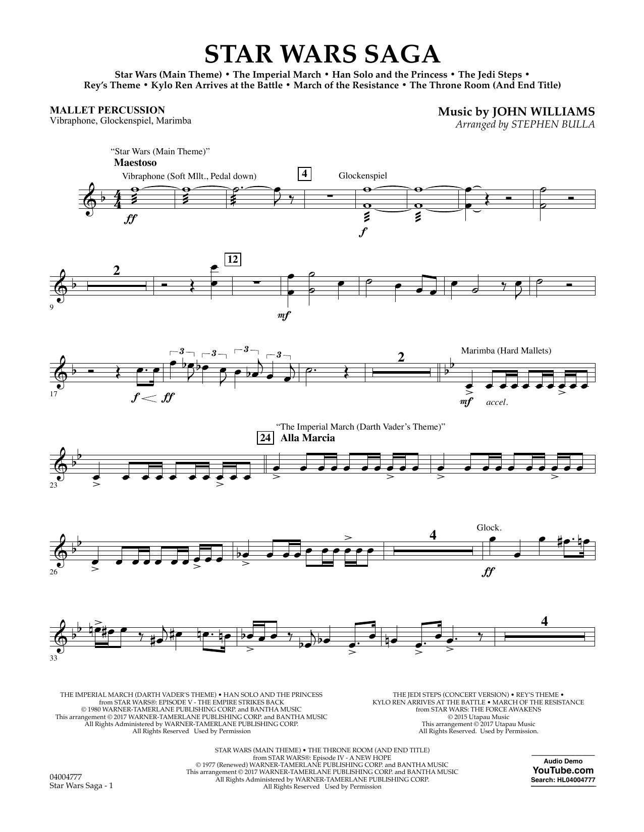 Stephen Bulla Star Wars Saga - Mallet Percussion sheet music preview music notes and score for Concert Band including 3 page(s)