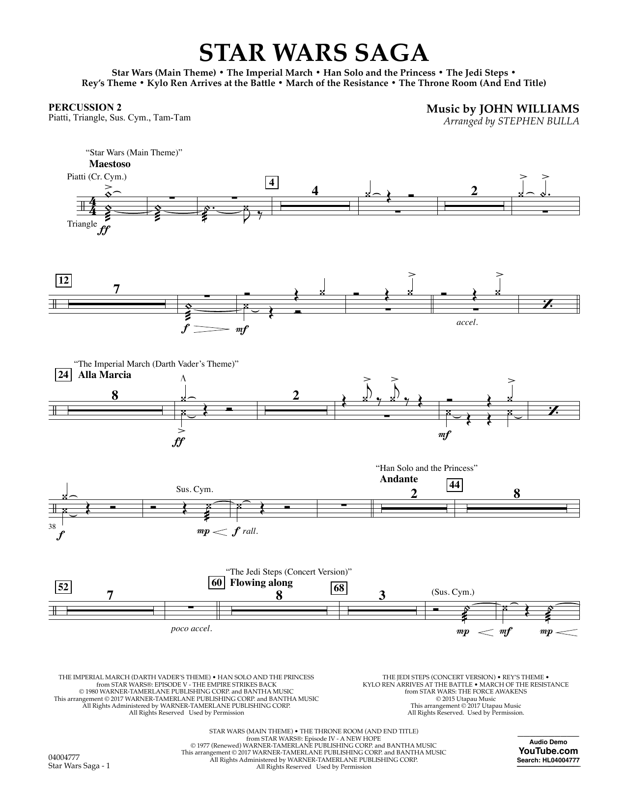 Stephen Bulla Star Wars Saga - Percussion 2 sheet music preview music notes and score for Concert Band including 2 page(s)