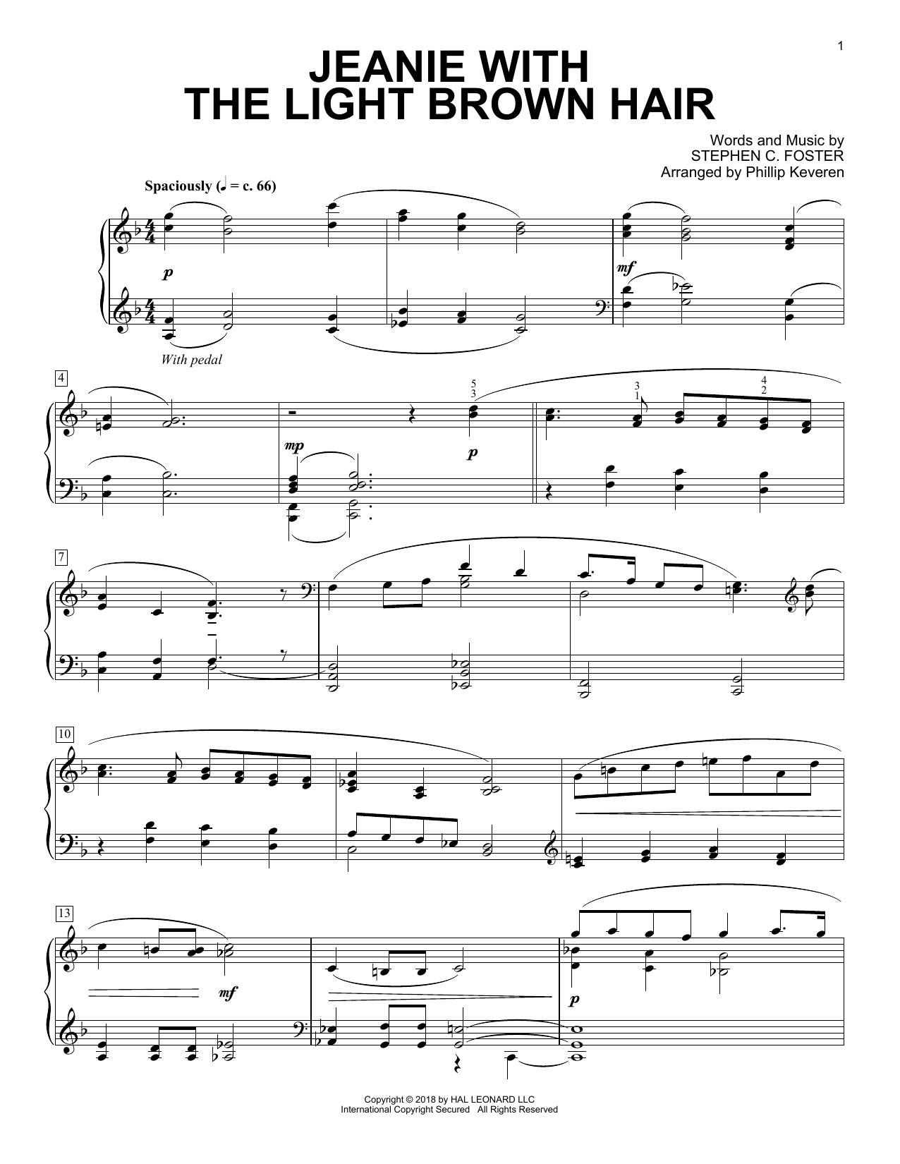 Download Phillip Keveren 'Jeanie With The Light Brown Hair' Digital Sheet Music Notes & Chords and start playing in minutes