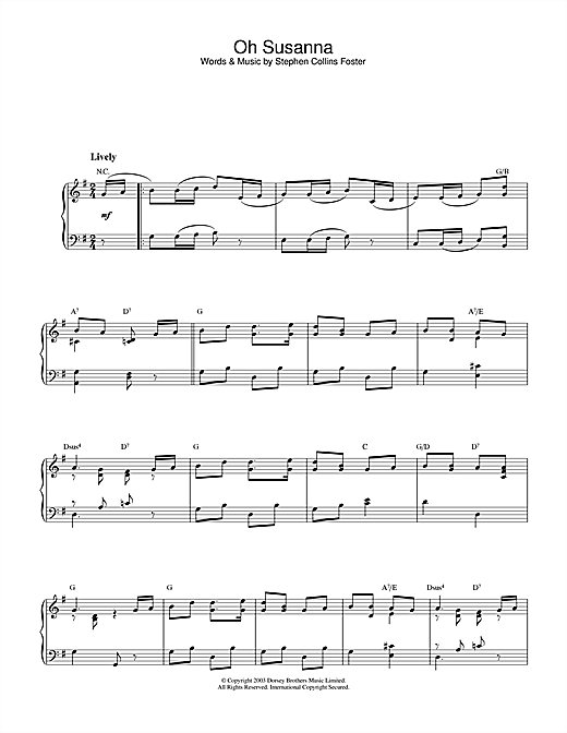 Download Stephen Foster 'Oh Susanna' Digital Sheet Music Notes & Chords and start playing in minutes