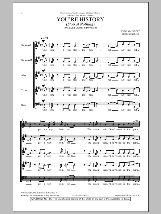 Stephen Hatfield You're History (Stop At Nothing) sheet music notes and chords