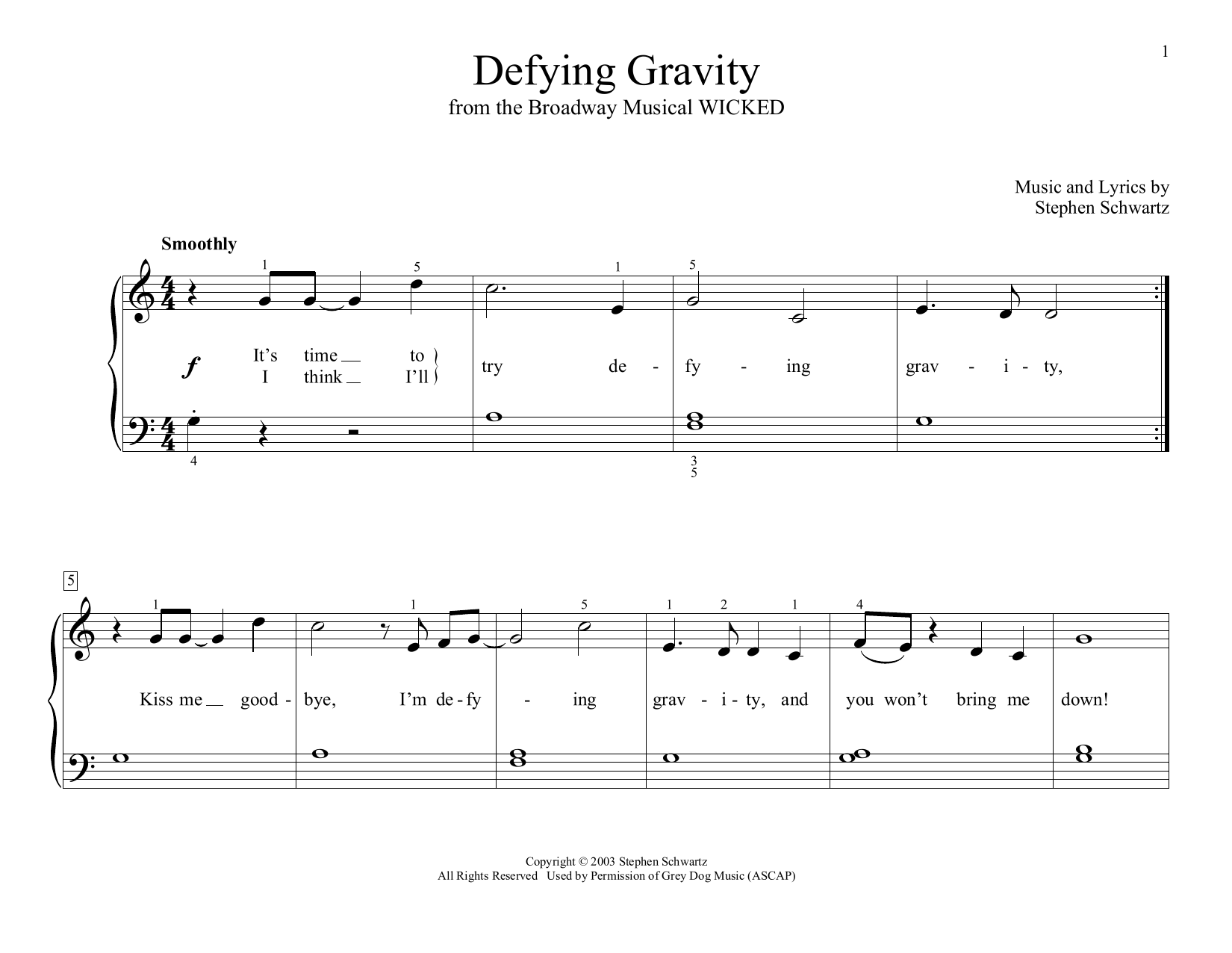 Stephen Schwartz Defying Gravity (from Wicked) (arr. Christopher Hussey) sheet music preview music notes and score for Educational Piano including 2 page(s)