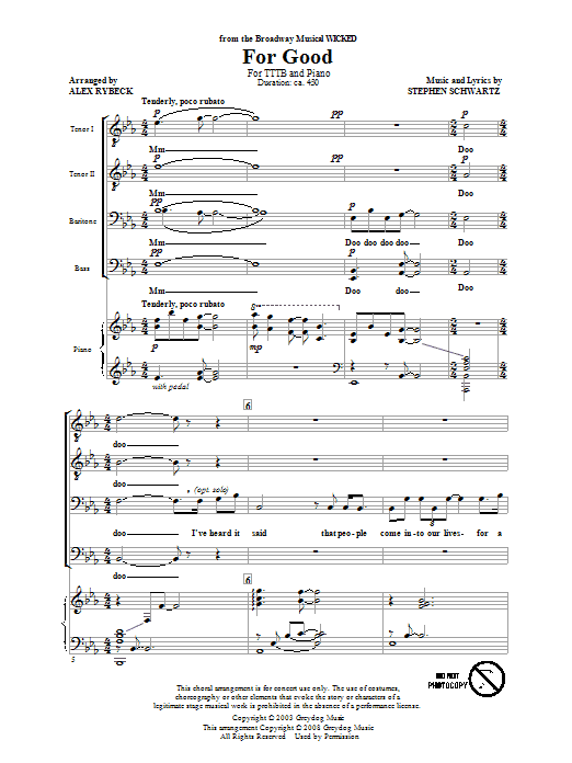 Stephen Schwartz For Good (from Wicked) (arr. Alex Rybeck) sheet music preview music notes and score for TTBB including 14 page(s)