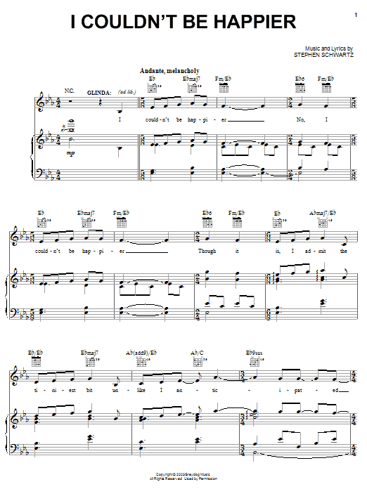 Stephen Schwartz I Couldn't Be Happier sheet music notes and chords