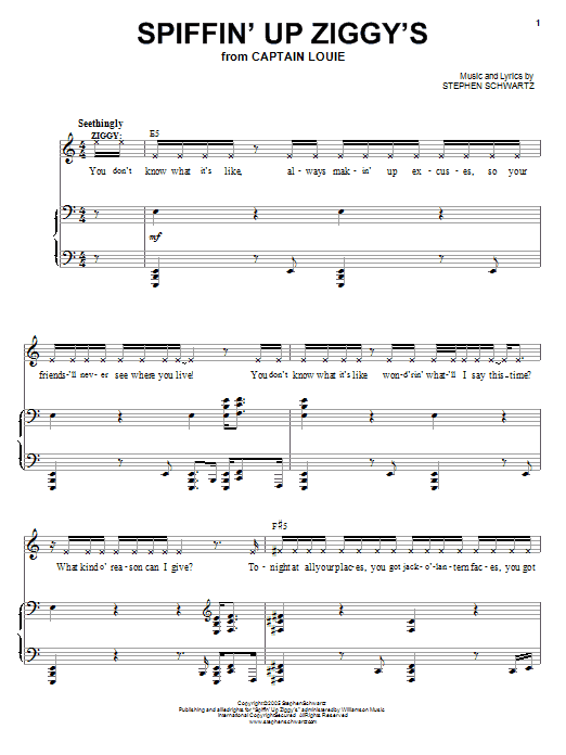 Stephen Schwartz Spiffin' Up Ziggy's sheet music preview music notes and score for Piano, Vocal & Guitar (Right-Hand Melody) including 10 page(s)