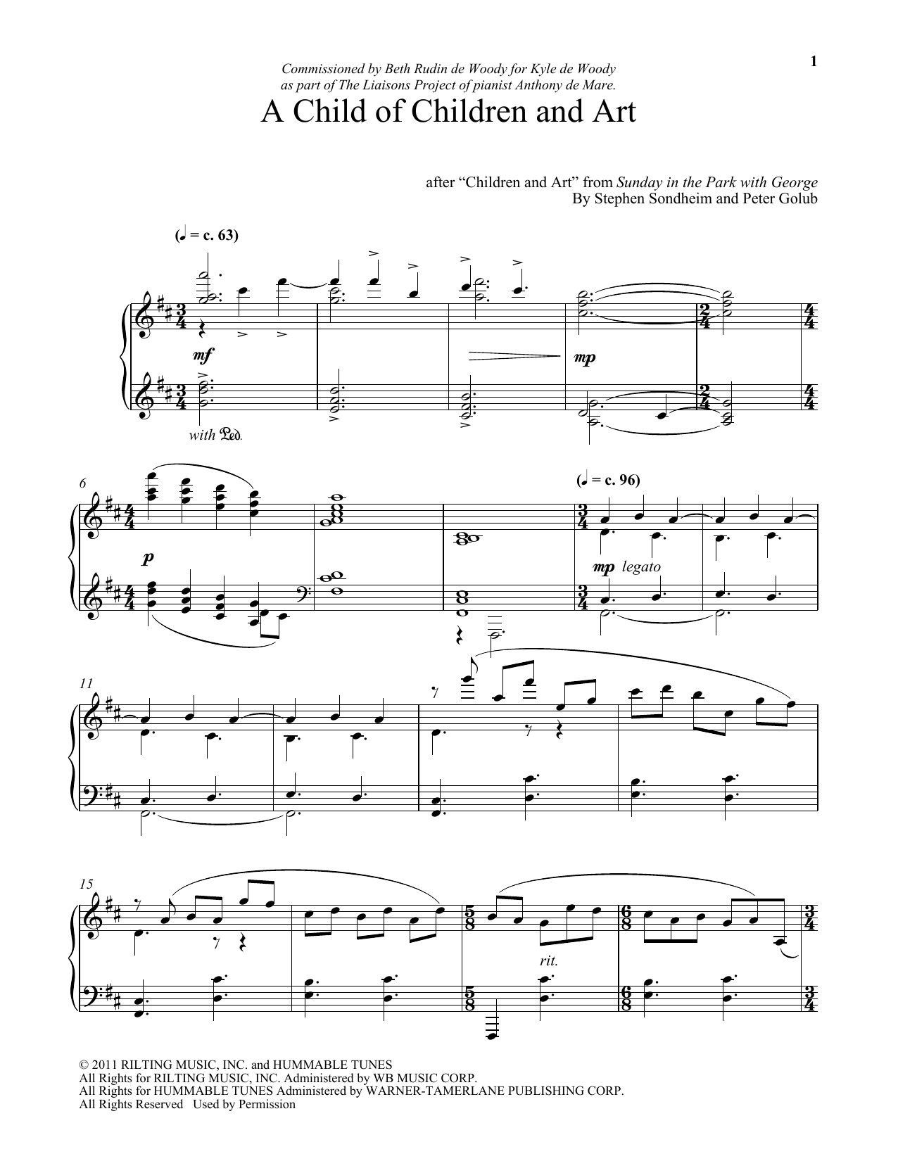 Download Stephen Sondheim 'A Child Of Children And Art (arr. Peter Golub)' Digital Sheet Music Notes & Chords and start playing in minutes