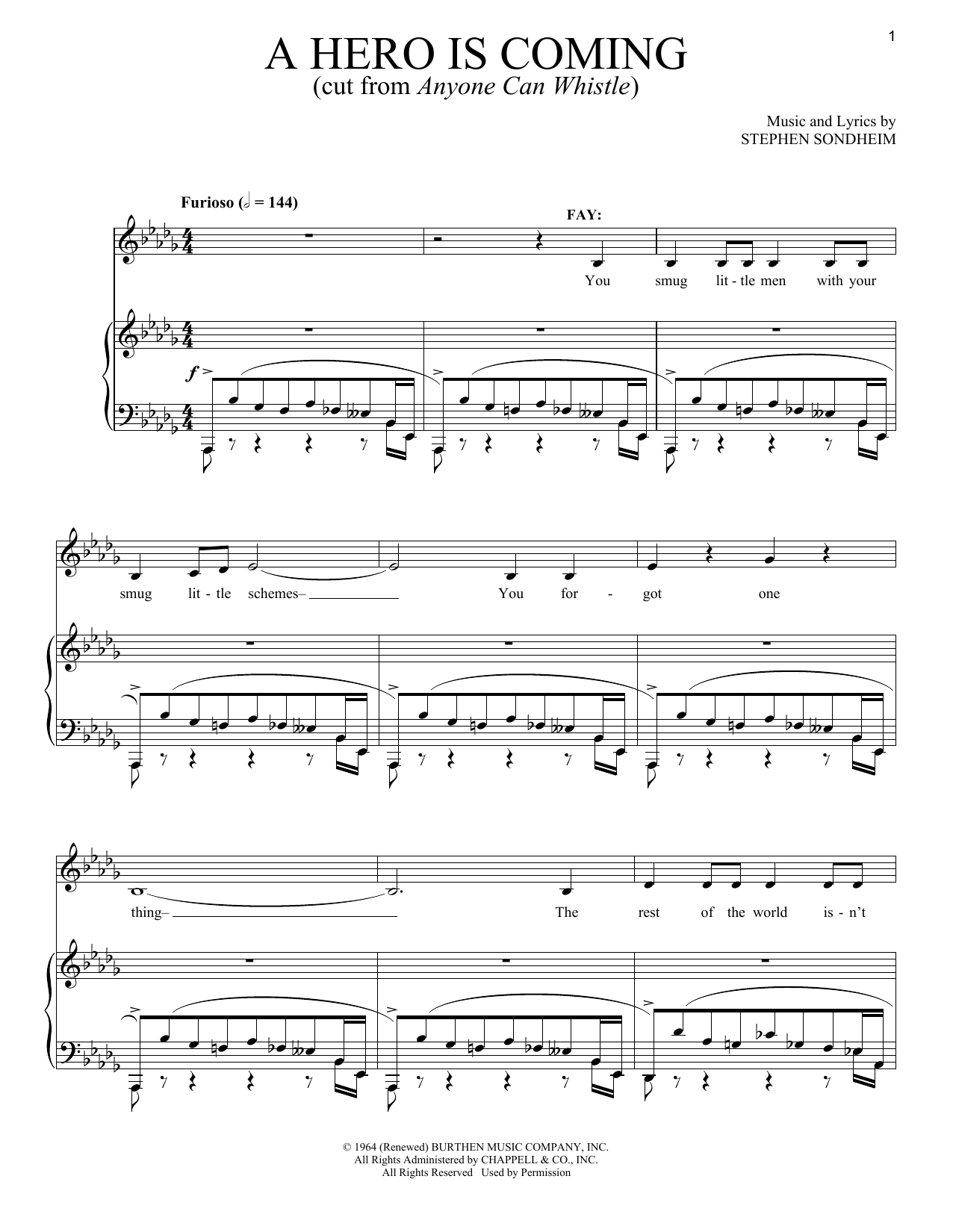 Download Stephen Sondheim 'A Hero Is Coming' Digital Sheet Music Notes & Chords and start playing in minutes