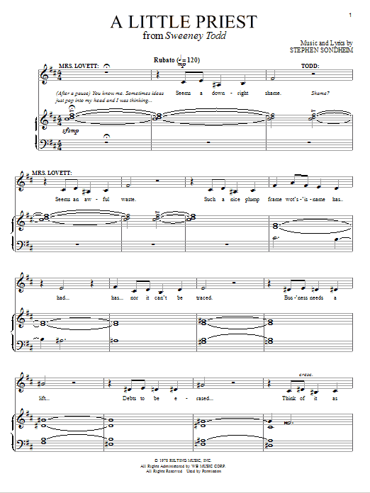Download Stephen Sondheim 'A Little Priest' Digital Sheet Music Notes & Chords and start playing in minutes