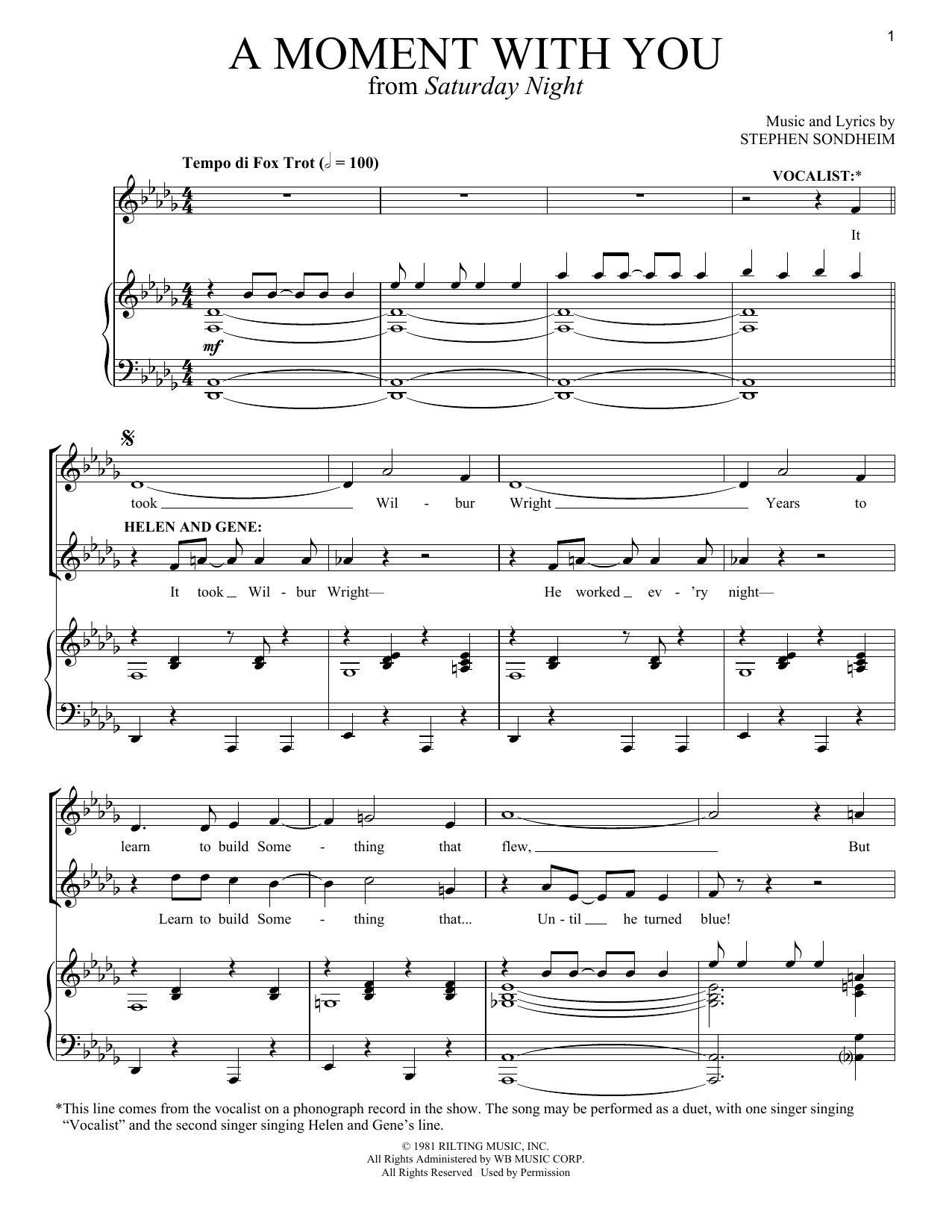 Download Stephen Sondheim 'A Moment With You' Digital Sheet Music Notes & Chords and start playing in minutes