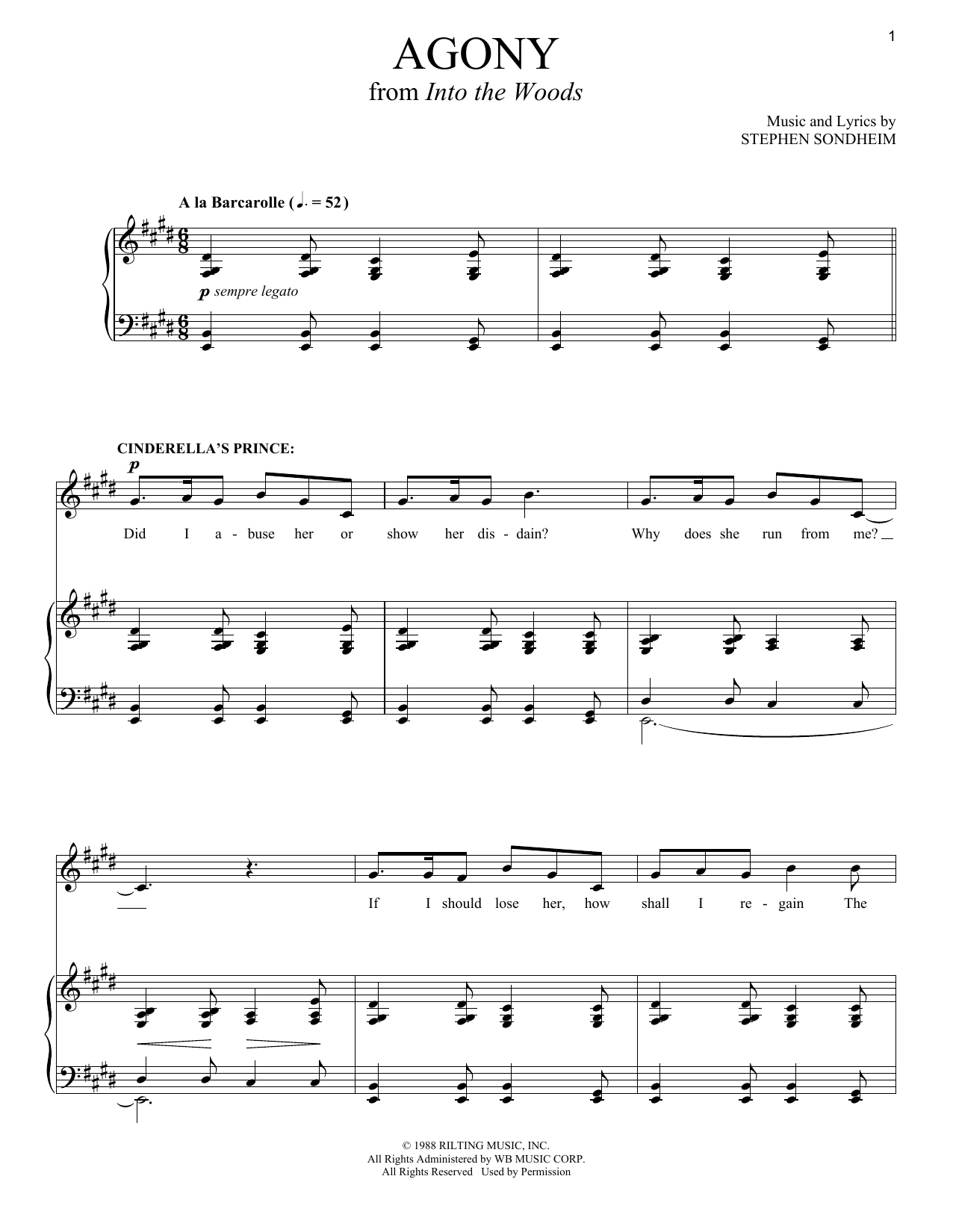 Download Stephen Sondheim 'Agony (from Into The Woods)' Digital Sheet Music Notes & Chords and start playing in minutes