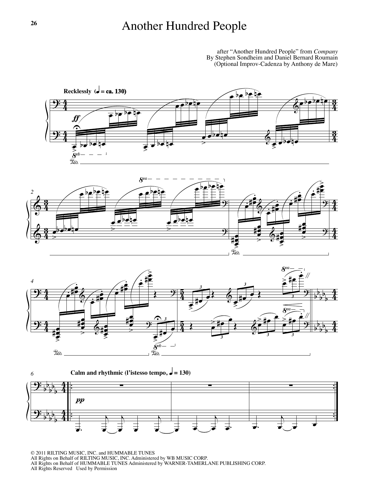 Download Stephen Sondheim 'Another Hundred People (arr. Daniel Bernard Roumain)' Digital Sheet Music Notes & Chords and start playing in minutes