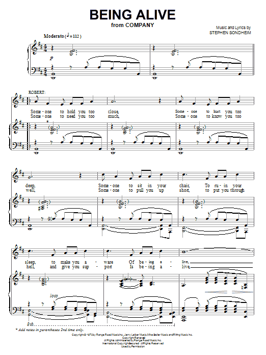 Stephen Sondheim Being Alive sheet music notes and chords