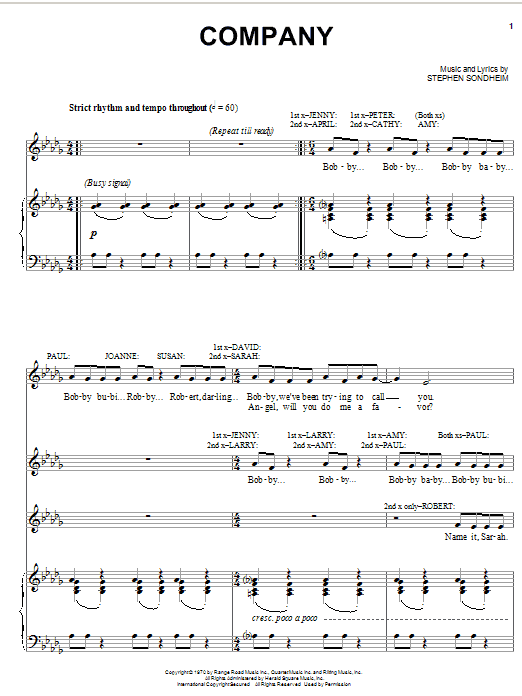 Stephen Sondheim Company sheet music preview music notes and score for Piano, Vocal & Guitar (Right-Hand Melody) including 12 page(s)