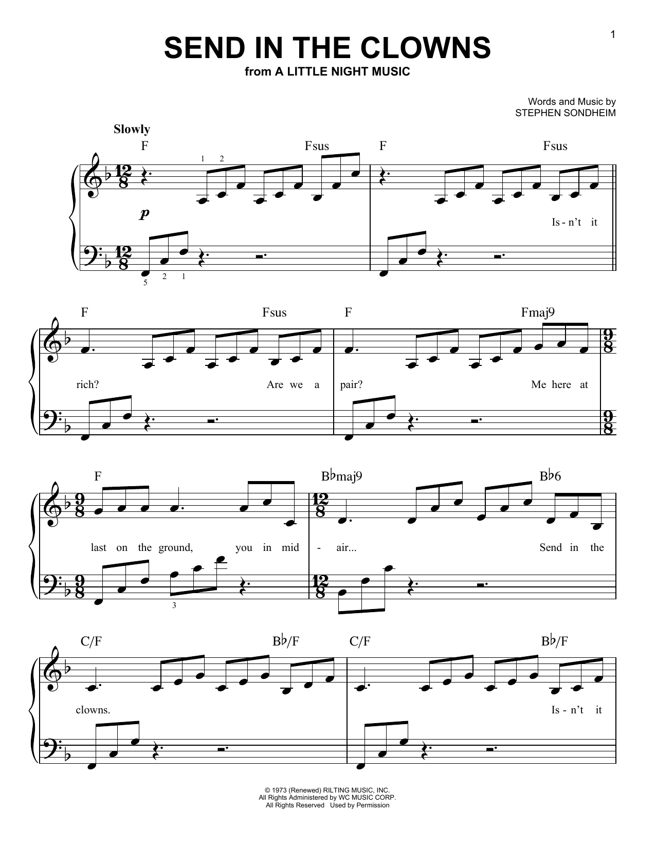 Stephen Sondheim Send In The Clowns sheet music preview music notes and score for Piano & Vocal including 4 page(s)