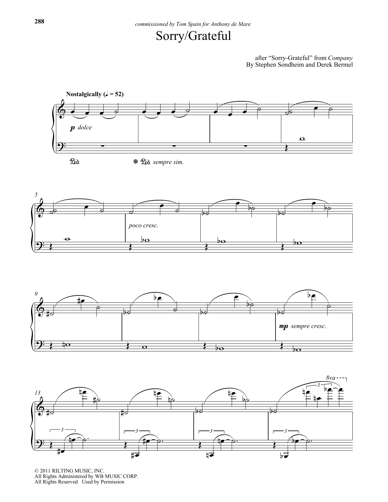 Download Stephen Sondheim 'Sorry - Grateful (arr. Derek Bermel)' Digital Sheet Music Notes & Chords and start playing in minutes