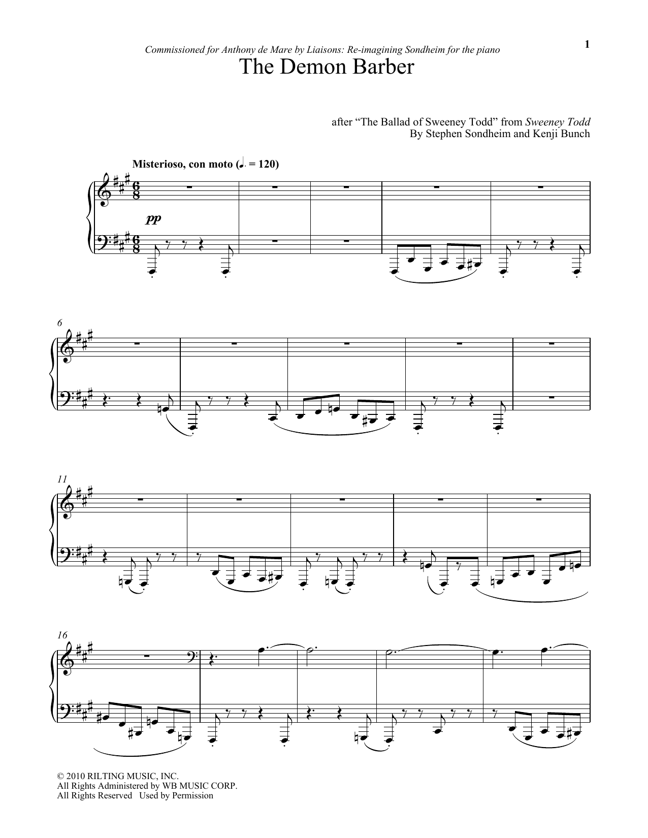 Download Stephen Sondheim 'The Demon Barber (arr. Kenji Bunch)' Digital Sheet Music Notes & Chords and start playing in minutes