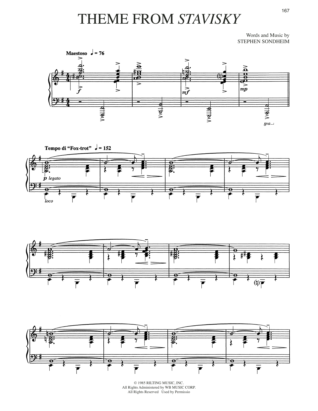 Stephen Sondheim Theme From Stavisky sheet music preview music notes and score for Piano & Vocal including 5 page(s)