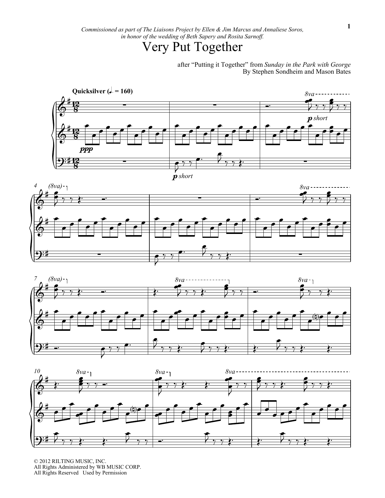 Download Stephen Sondheim 'Very Put Together (arr. Mason Bates)' Digital Sheet Music Notes & Chords and start playing in minutes