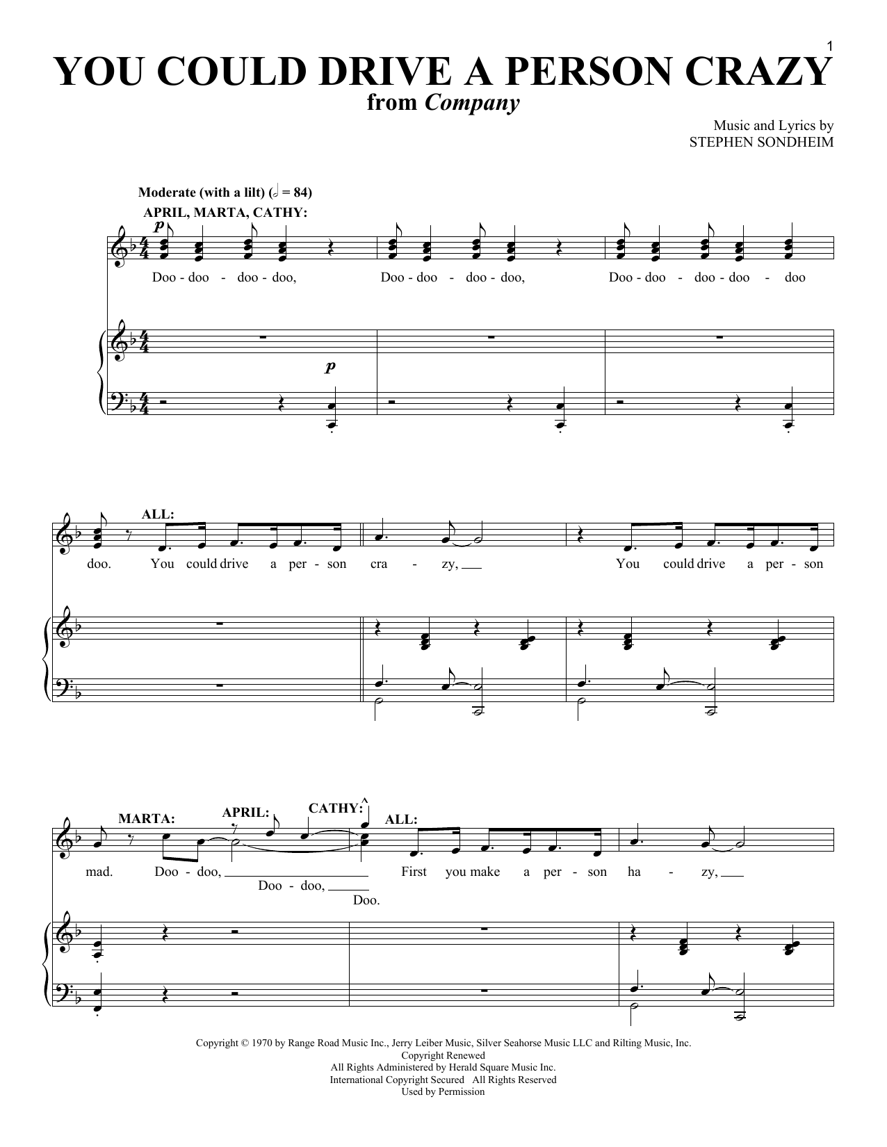 Stephen Sondheim You Could Drive A Person Crazy sheet music notes and chords