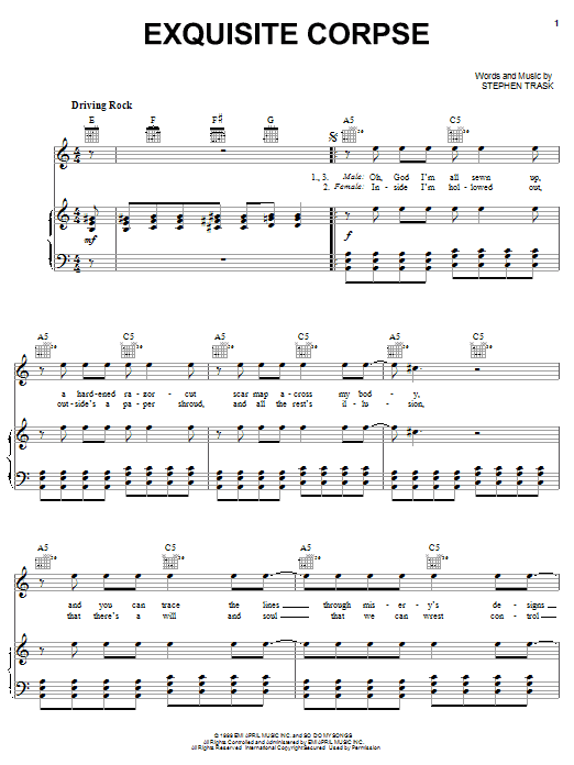 Stephen Trask Exquisite Corpse sheet music preview music notes and score for Piano, Vocal & Guitar (Right-Hand Melody) including 5 page(s)