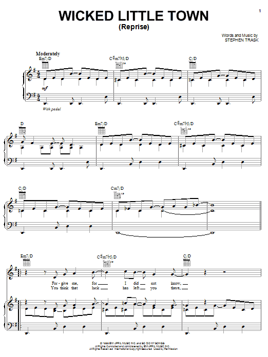 Stephen Trask Wicked Little Town (Reprise) sheet music preview music notes and score for Piano, Vocal & Guitar (Right-Hand Melody) including 5 page(s)